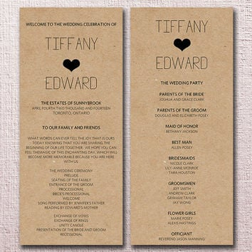 Kraft Wedding Program Template Diy Typography Heart Ceremony For Th