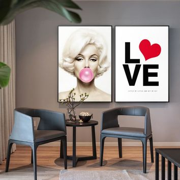 Marilyn Monroe Blows Bubbles Creative Canvas Painting Posters And Prints Large Painting wall art Deco For Living Room For Lover