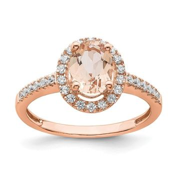 14k Rose Gold Morganite Oval Diamond Halo Engagement Ring
