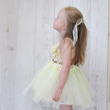 Flower girl tutu dress, tutu dress, ivory and light yellow flower girl dress, girl's wedding tutu dress, crochet tutu dress