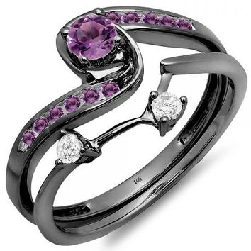 Black Rhodium Plated 10K White Gold Round Diamond & Amethyst Ladies Swirl Bridal Engagement Ring Set