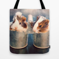 Double Delight - Two Adorable Guinea Pigs Tote Bag by Tangerine-Tane