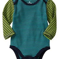 Colorblock stripe lapped bodysuit