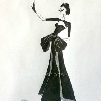 Fashion Art Illustration 1950s Cocktail Dress by LinearFashions