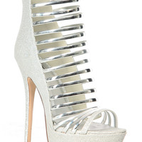 Silver Glitter Piped Strappy Platform Heels