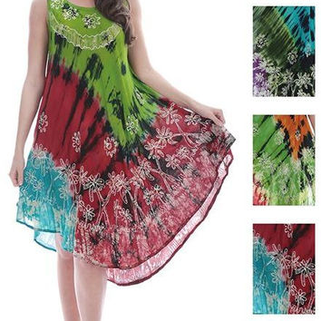 women's batik tie dye rayon dresses - floral tapestry Case of 48