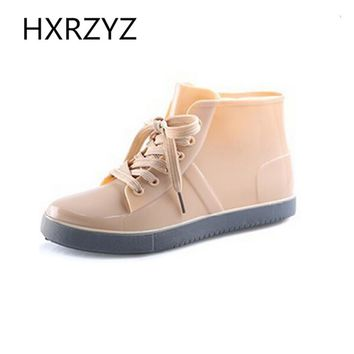 Shoes Women Lace-Up Rain Boots Fashion Solid Flats Shoes Casual Round Toe Women Ankle Boots Jelly Waterproof Shoes Martin Boots