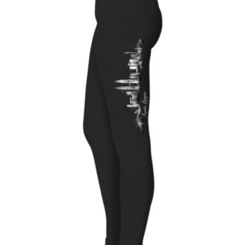 KUALA LUMPUR, Malaysia Watercolor City Skyline Designer Women Ladies Black Leggings W/Text by Highrise Gypsy