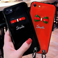 Contrast Bowknot iphone6 iphone6 plus apple 6plus protective cover iphone6s silicone 6splus all package anti-drop soft shell