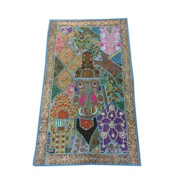Mogul Indian Wall Tapestry Handmade Crafted Beaded Patchwork Blue Table Runner Throw Sari Wall Hanging 70x 48 - Walmart.com