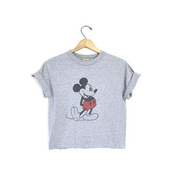 Vintage Mickey Mouse TShirt. Cropped Mickey Tee Shirt. Gray Cut Off Mickey Shirt. Disney Top. XS