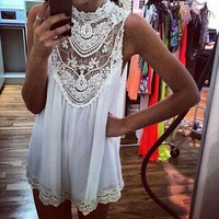 White Club Dresses  Plus Size  Clothing Ladies Casual Lace Hollow Out Loose Sleeveless