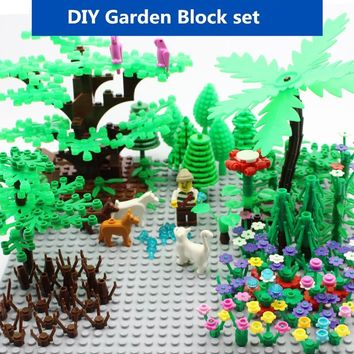 Compatible LegoINGlys Military Weapon Green Bush Flower Grass Tree Plants Garden City DIY MOC Accessories Building Blocks Toys