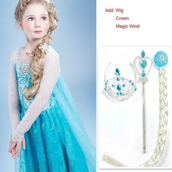 2016 Summer children clothing girl dresses Anna Elsa Princess Dress For infant kids costume party wedding Add Crown WIG MAGIC