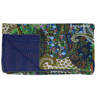 Queen Size Blue Multicolor Paisley Kantha Quilt Blanket Bedding on RoyalFurnish.com