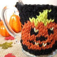 Halloween Pumpkin Coffee Mug Cozy – Knit Halloween Coffee Cozy – Halloween Pumpkin Décor – Halloween Accessory Hostess Gift– Fall Decor