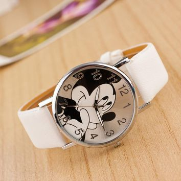 Cartoon relogio Fashion Mickey Mouse watch women unisex Leather quartz wristwatch For Children watches Boy Girl Favorite gift