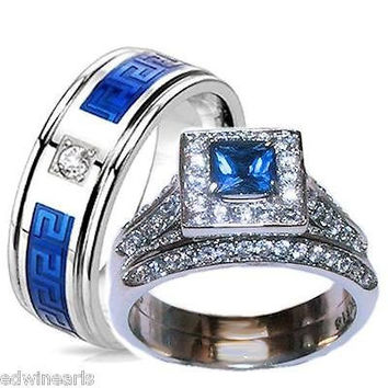 His & Hers Halo Sapphire Blue & Clear Cz Wedding Ring Set Stainless Steel