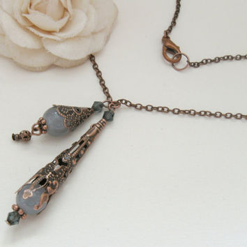 Gray bells - copper pendant necklace with vintage filigree cones and gray beads