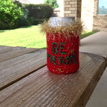 Ugly Sweater Beer Koozie, Ugly Christmas Sweater Drink Can Cozy, Crocheted Beer or Soda Bottle Koozie, Custom Beer Cozy, Made to Order