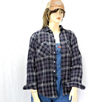 Vintage Dickies flannel shirt / size L /  80s dickies blue / pink oversized plaid flannel shirt / western / grunge flannel
