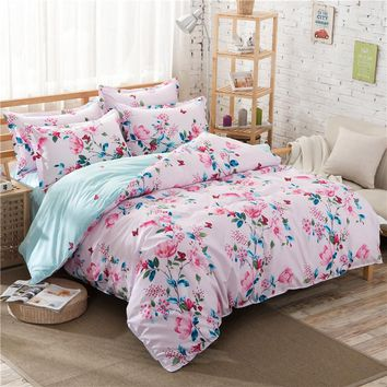 2017 New Arrival Princess Pink Color Butterfly Flower Printed Beautiful Girl Bedroom Bed Sets Cover Sets Duvet Cover King Girl