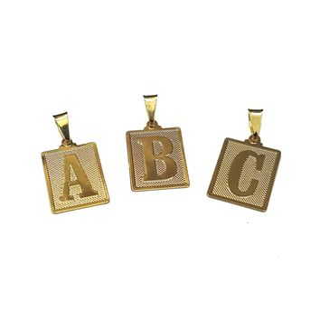 "(1-2455-h8) Gold Overlay Square Letter Initials Pendant, 1""."