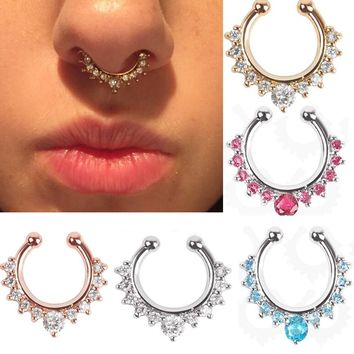 Crystal Fake Septum Nose Ring Piercing Clip On Nostril fake Hoop Nose Stud Clip Ring For Women Body Jewelry