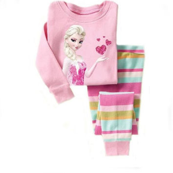 Children Clothing Sets girls pajamas suits baby girl Clothing Sets sleepwear kitty princess pajamas cotton shirts and trousers