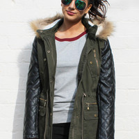 Rose Quilted Leather Look Sleeve Parka Coat with Fur Trim Hood in Khaki Green