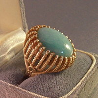 14K Jade Statement Ring, Cocktail Dome Basket Setting, 16 grams, Size 6