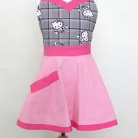 Hello Kitty Kids Apron Cute Grey and Pink Apron Art Smock or Kitchen Apron for Girls Makes a Great Gift