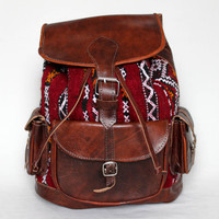 "Retro Style Leather Backpack, 3 front pockets, Festival Bag, MEDIUM Size, 15"" Laptop"