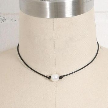 womens black leather pearl necklace choker gift box  number 1