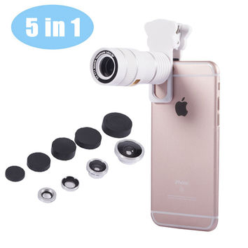 5in1 Universal Phone Camera Lens 9X Telephoto Lens Wide Angle Macro lens Fisheye Lens Cat Clip for iPhone 5 6 S Plus Samsung
