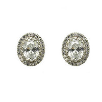 Clear Cubic Zirconia Oval Earrings