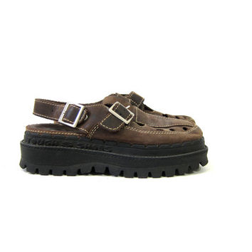 90s Chunky Sandals Brown Leather Buckled Sketchers Sandals Rubber Soles Preppy Urban Shoes Boho Platforms Cut Outs Womens Tough Shoes size 7