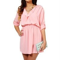 Peach 3/4 Shirt Dress