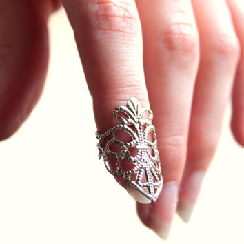 Silver Floral Lace Nail Ring - Free Shipping - Made to order :)