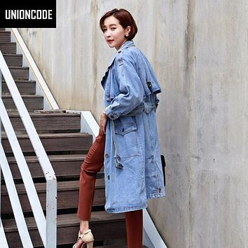 Special Offer! Classic Style Casual Denim Trench Coat For Women Long Coats Womens Autumn &  Spring 2017