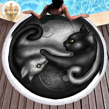 Yinyang Cat Morning by Khalia Art Round Beach Towel Microfiber Serviette De Plage Paisley Blanket Black and White Picnic Mat