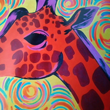 8x10 Print Orange and Red Giraffe with Colorful Swirls Original Acrylic Painting Print Gift Idea Colorful Animals Painting Glossy