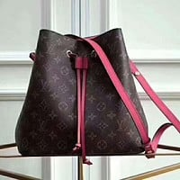 LV Popular Women Leather Shoulder Bag Tote Handbag Rose Red I-WMXB-PFSH