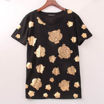 Gold Tiger Head T-shirts  Casual Cotton Tops