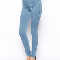 ASOS Rivington High Waist Denim Jeggings in Light Wash Blue - Blue