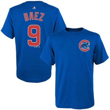 Youth Chicago Cubs Javier Baez Majestic Royal Player Name & Number T-Shirt