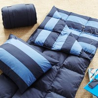 Rugby Stripe Sleeping Bag + Pillowcase, Blue/Navy