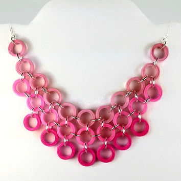 Paper Quilled Pink Bib Necklace - pink statement necklace, pink necklace, paper anniversary, 1st anniversary, collar necklace, paper jewelry