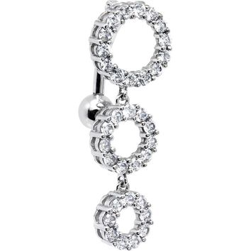 Solid 14kt White Gold Top Mount CZ Circle Belly Ring