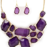 Purple Geometric stone like statement bib necklace with matching little stone earrings